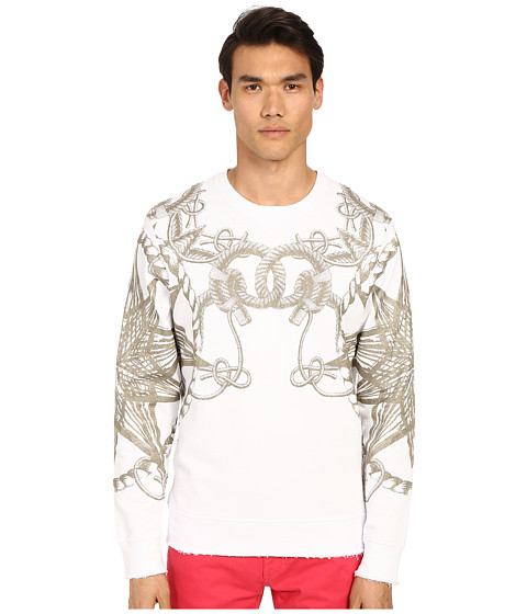 Imbracaminte Barbati Just Cavalli Snake Rope Sweater White