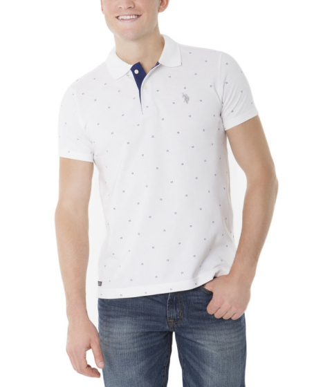Imbracaminte Barbati US Polo Assn Slim Fit Dot Printed Pique Polo Shirt White