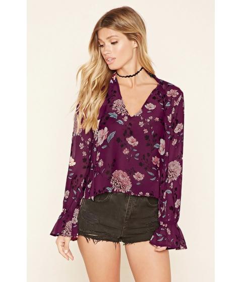 Imbracaminte Femei Forever21 Floral Self-Tie Blouse Purplepeach