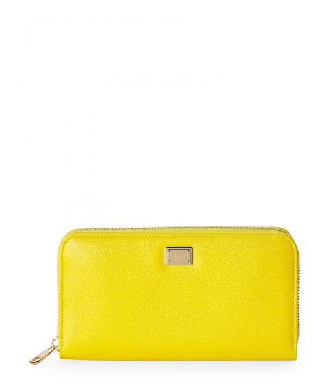 Genti Femei Salvatore Ferragamo Yellow Dauphine Leather Zip Wallet Yellow