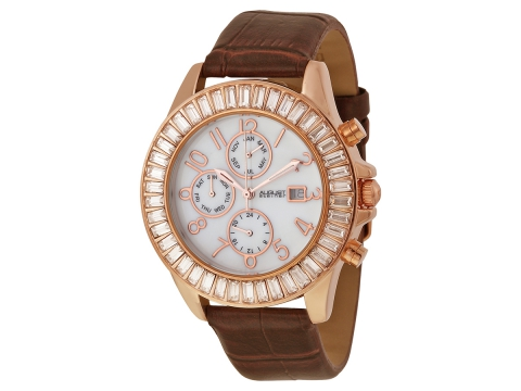 Ceasuri Femei August Steiner Mother of Pearl Dial Rose Gold-tone Ladies Watch White Mother of Pearl