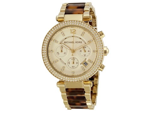 Ceasuri Femei Michael Kors Parker Chronograph Tortoiseshell Ladies Watch Gold