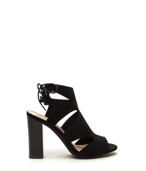 Incaltaminte Femei CheapChic Step It Up Faux Suede Caged Heels Black