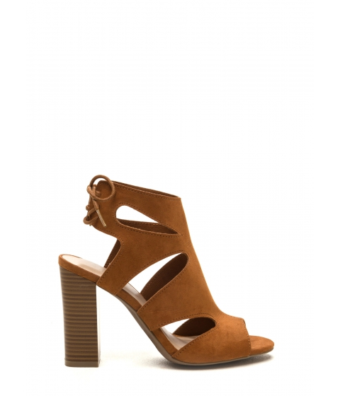 Incaltaminte Femei CheapChic Step It Up Faux Suede Caged Heels Whisky