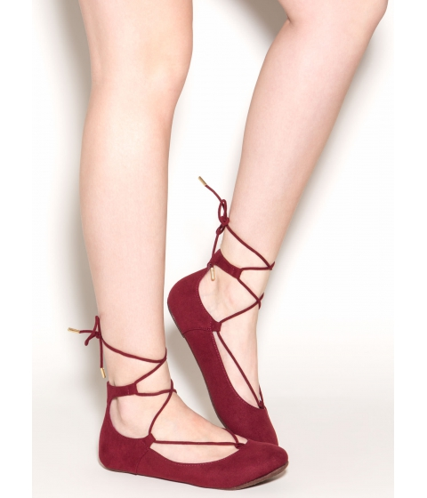 Incaltaminte Femei CheapChic Seize The Day Lace-up Ballet Flats Burgundy
