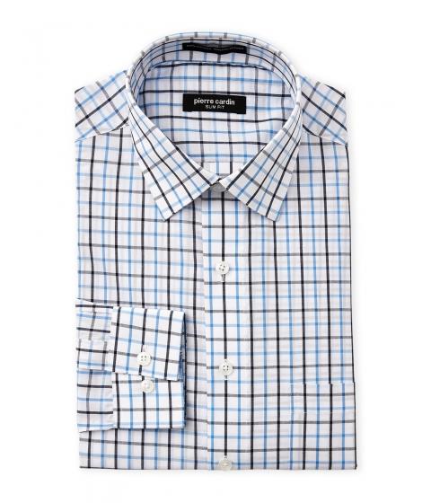 Imbracaminte Barbati Pierre Cardin Navy Blue Check Slim Fit Dress Shirt Navy Blue