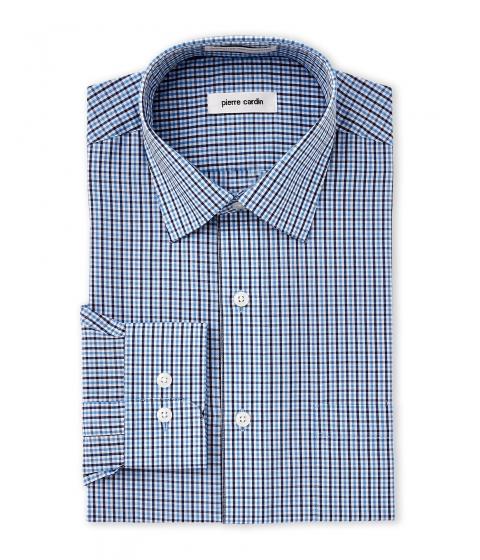 Imbracaminte Barbati Pierre Cardin Blue White Mini Check Dress Shirt Blue White