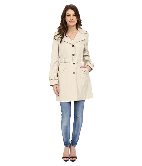 Imbracaminte Femei Calvin Klein Single Breasted Hooded Belted Trench w Printed Liner Buff