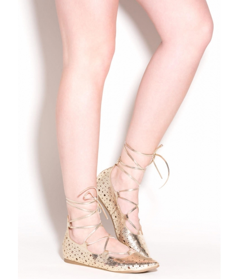 Incaltaminte Femei CheapChic Totally Perf Lace-up Metallic Flats Gold