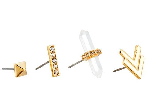 Bijuterii Femei Rebecca Minkoff Raw Crystal Set of Four Earrings 12K with Crystal