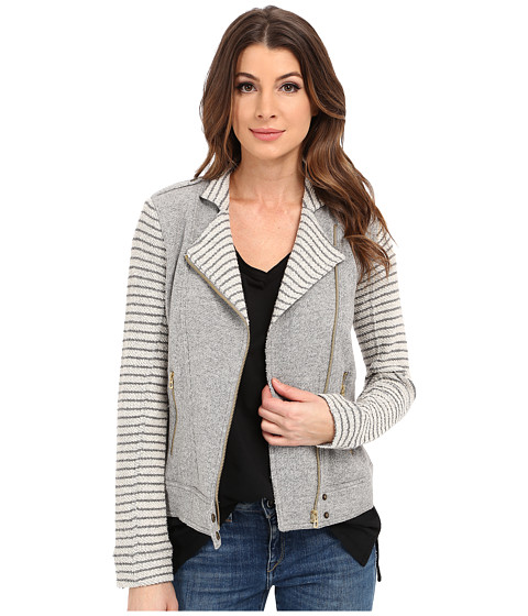 Imbracaminte Femei Lucky Brand Mixed Stripe Moto Jacket Heather Grey