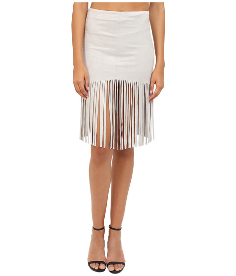 Imbracaminte Femei BB Dakota Jesper Faux Suede Fringe Skirt Light Grey