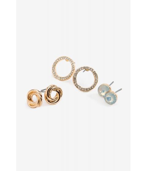 Bijuterii Femei CheapChic Stone Knot Circle 3 Pair Earring Met Gold