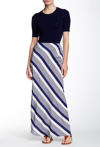 Imbracaminte Femei Amanda Uprichard Bias Silk Maxi Skirt Navy Beach Stripe
