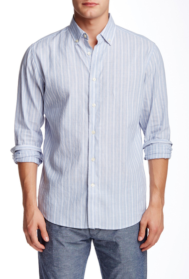 Imbracaminte Barbati Slate Stone Stripe Button-Down Collar Trim Fit Shirt BLUE-WHITE