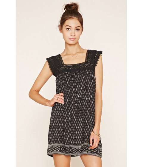 Imbracaminte Femei Forever21 Crocheted Mini Peasant Dress Blackcream