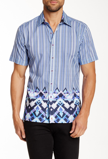 Imbracaminte Barbati Robert Graham Amble Short Sleeve Classic Fit Shirt LIGHT BLUE