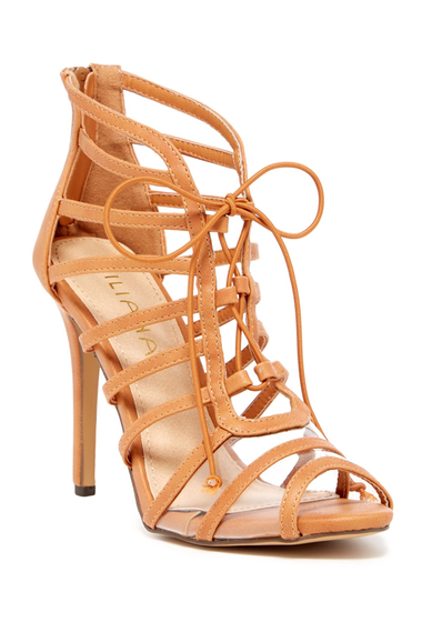 Incaltaminte Femei LILIANA Zia Lace-Up Heeled Sandal TAN