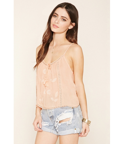 Imbracaminte Femei Forever21 Embroidered Self-Tie Cami Peach