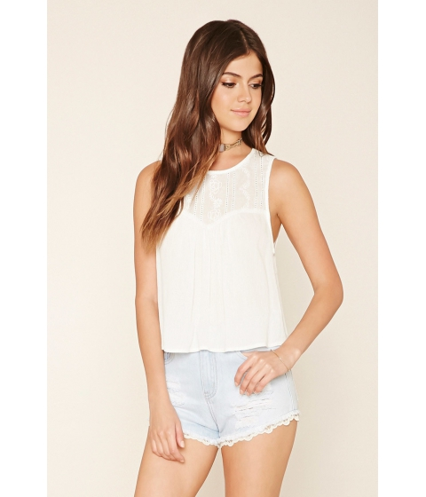 Imbracaminte Femei Forever21 Embroidered Gauze Blouse Cream