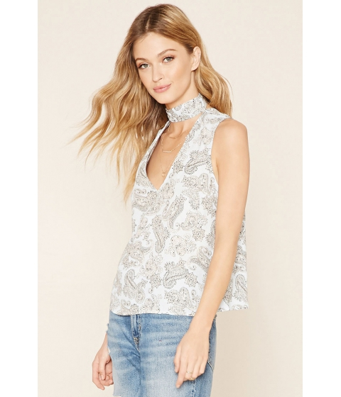 Imbracaminte Femei Forever21 Contemporary Paisley Floral Top Light blueivory