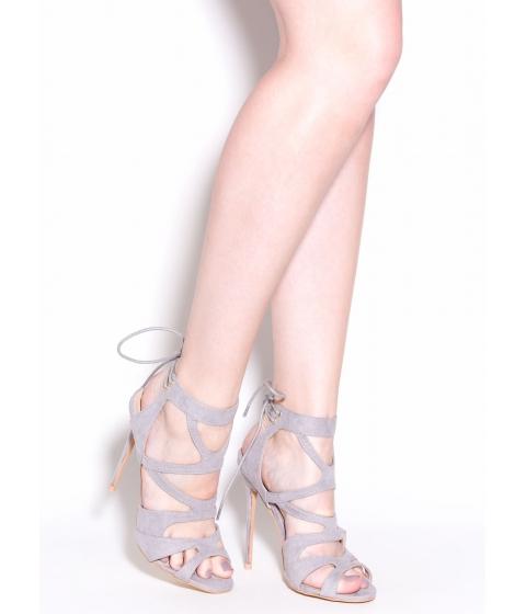 Incaltaminte Femei CheapChic Thin Is In Caged Stiletto Heels Grey