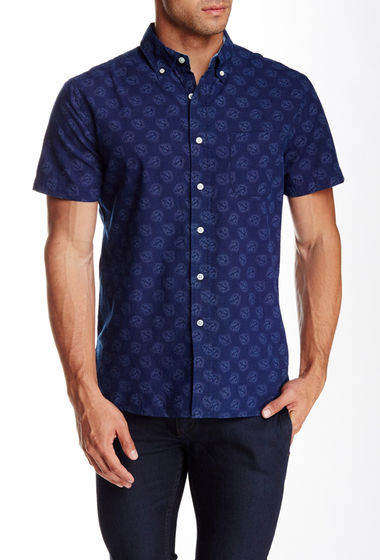 Imbracaminte Barbati Grayers Short Sleeve Anchor Regular Fit Shirt INDIGO DISCHARGE