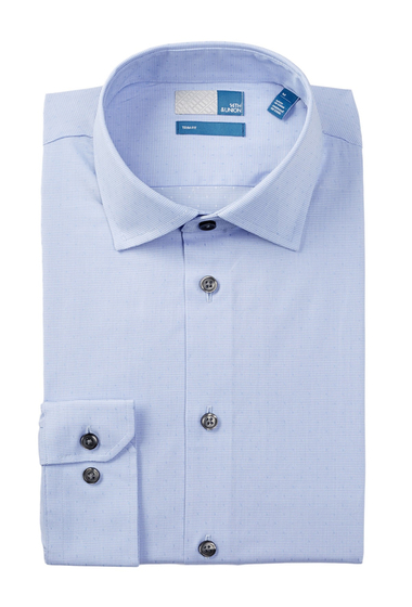 Imbracaminte Barbati 14th Union Long Sleeve Trim Fit Dobby Dot Dress Shirt BLUE HYDRANGEA