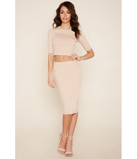 Imbracaminte Femei Forever21 Ribbed Knit Pencil Skirt Taupe