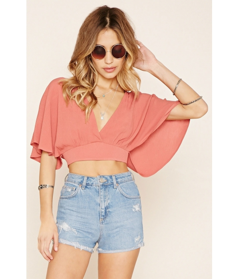 Imbracaminte Femei Forever21 V-Neck Split-Back Crop Top Mauve