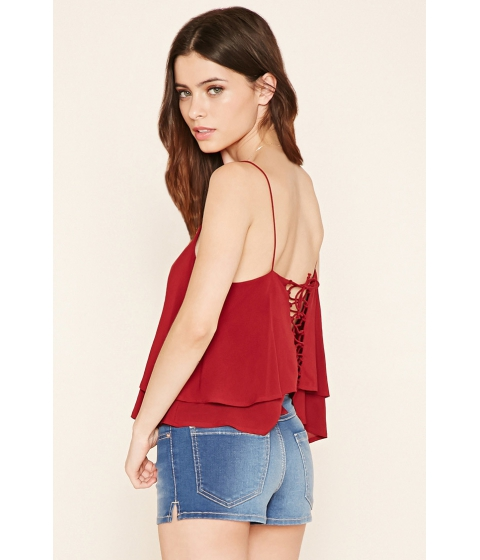 Imbracaminte Femei Forever21 Lace-Up Cropped Cami Wine