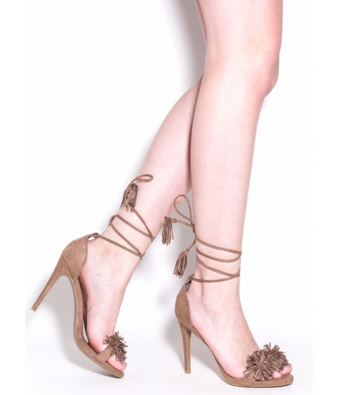 Incaltaminte Femei CheapChic Step Into Fringe Lace-up Heels Taupe