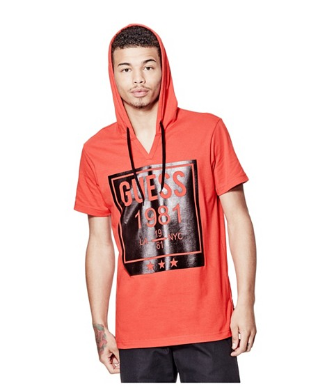 Imbracaminte Barbati GUESS Capella Short-Sleeve Graphic Hoodie red hot