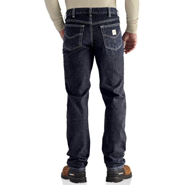 Imbracaminte Barbati Carhartt Flame-Resistant Rugged Flex Jeans - Straight Leg Traditional Fit DEEP INDIGO WASH (01)