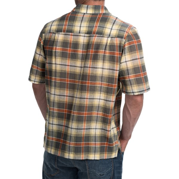 Imbracaminte Barbati Woolrich Chill Out Pucker Plaid Shirt - Short Sleeve FIELD GRAY (01)