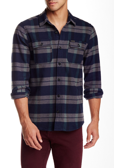 Imbracaminte Barbati Volcom Vernon Plaid Long Sleeve Slim Fit Shirt NAVY