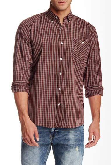 Imbracaminte Barbati Volcom Everett Mini Check Print Long Sleeve Classic Fit Shirt CHERRYWOOD