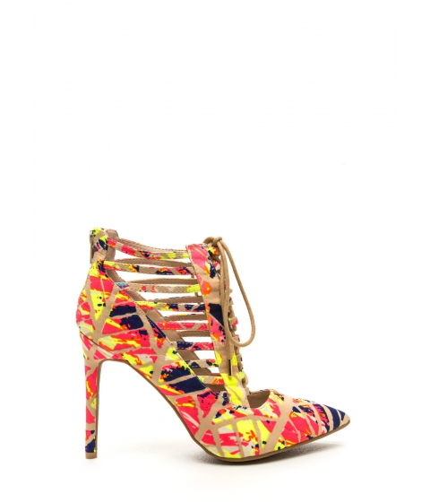 Incaltaminte Femei CheapChic Special E-vent Printed Lace-up Heels Neonpink