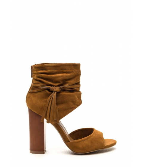 Incaltaminte Femei CheapChic Tassel Takeover Slouchy Faux Suede Heels Cognac