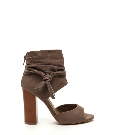 Incaltaminte Femei CheapChic Tassel Takeover Slouchy Faux Suede Heels Taupe