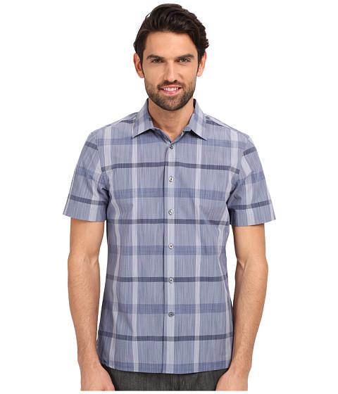 Imbracaminte Barbati Perry Ellis Slim Fit Space Dye Plaid Pattern Shirt Bering Sea