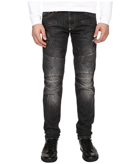 Imbracaminte Barbati Philipp Plein Highway Biker Straight Denim Carbon Grey