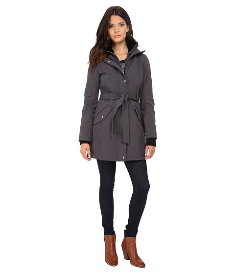 Imbracaminte Femei Jessica Simpson Long Zip Front Soft Shell with Belt Grey