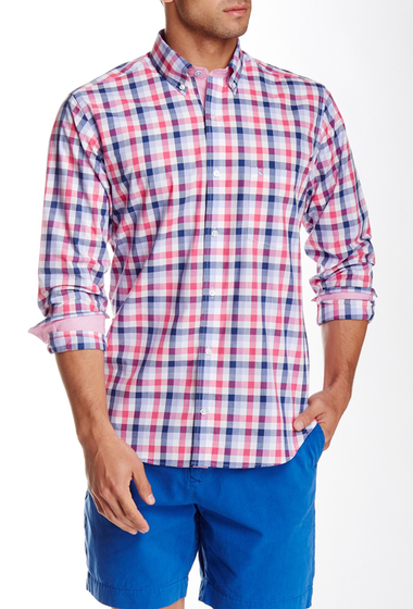 Imbracaminte Barbati TailorByrd Check Plaid Long Sleeve Shirt FUCHSIA