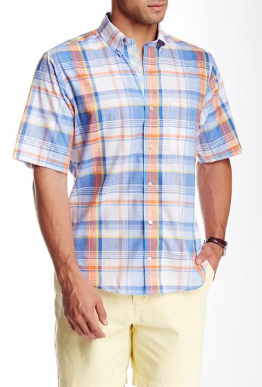 Imbracaminte Barbati TailorByrd Plaid Short Sleeve Shirt ORANGE