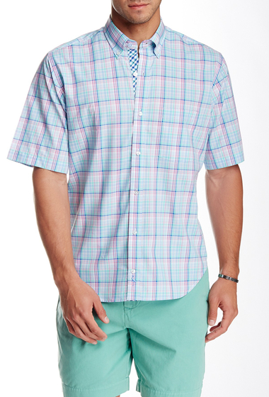 Imbracaminte Barbati TailorByrd Madras Short Sleeve Shirt GREEN
