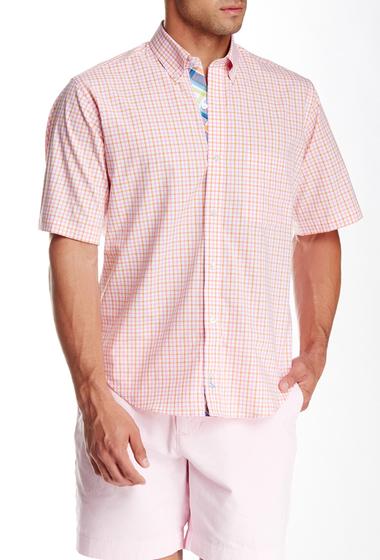 Imbracaminte Barbati TailorByrd Grid Print Short Sleeve Shirt ORANGE