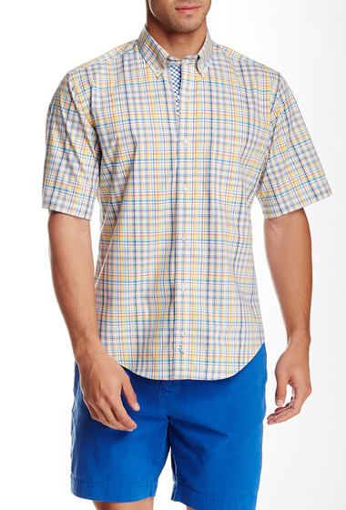 Imbracaminte Barbati TailorByrd Plaid Short Sleeve Shirt YELLOW