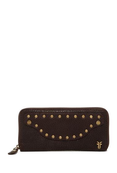 Accesorii Femei Frye Nikki Nail Head Large Leather Wallet DARK BROWN