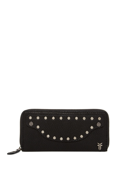Accesorii Femei Frye Nikki Nail Head Large Leather Wallet BLACK
